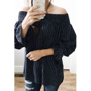 Tops - navy + white striped tie sleeve off-shoulder top